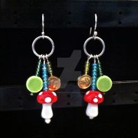 Super Mario Beaded Earrings by Rosie-Periannath