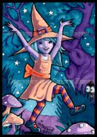 Little Witch Girl ACEO Caper by candcfantasyart