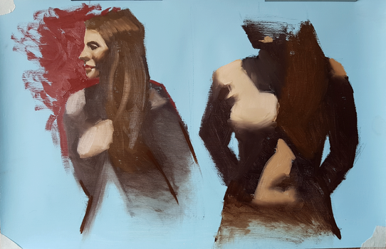 Quick oil painting live model by Ares777