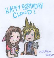 Happy Birthday Cloud: Picked You a Flower by cleris4ever