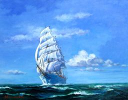 Sailing Ship -Blue Sky 2- by temma22