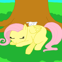 sleepy fluttershy and angel by sweet-pea-soup