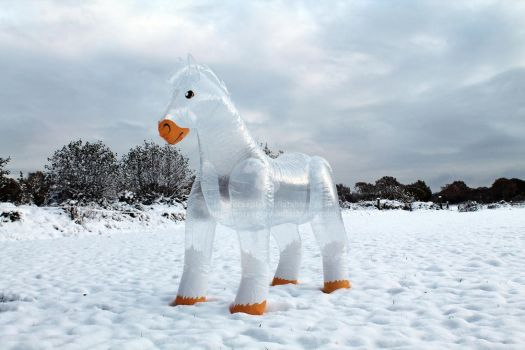 Ice Horse - the inflatable see-through horse by HorseplayInflatables