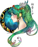Hatsune Miku: Nebula Green by SchizoCheese