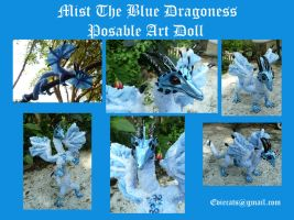 Mist the blue Dragoness Posable Art Doll by Eviecats