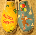 Curious George shoes by StrangeAndILikeIt