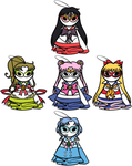 Sailor Scouts Prototype Charms by serkunet