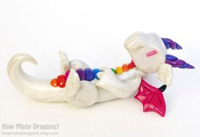 Pearly White and Rainbow Dragon by HowManyDragons