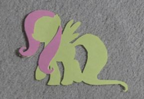 Paper fluttershy with hair walking (GIF) by vaser888