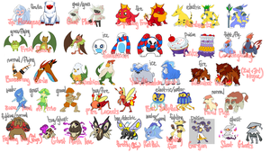 Fakemon Concepts by Umbrielle