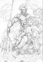 Mera and Aquaman by Iago Maia by Ed-Benes-Studio