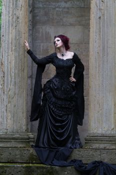Stock -Victorian gothic woman on hand on collumn by S-T-A-R-gazer