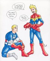 Captain America and Captain Marvel (Carol Danvers) by ibroussardart