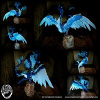 Handmade OOAK Large Blue Wyvern on Agate by SonsationalCreations