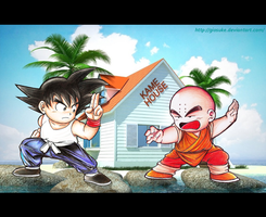 Goku Vs Krillin old school by Giosuke