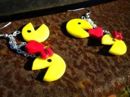 Pacman Love Earrings by justinsgirl8887
