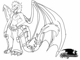 Clothed Anthro Megadragon lineart by ShardianofWhiteFire