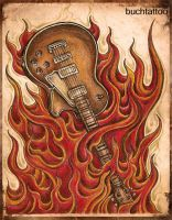 guitarflames by buchtattoo