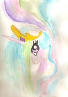 Princess Celestia watercolor by LightningChaser
