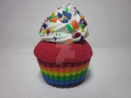 Polymer Clay Rainbow Cupcake by Darklunax110
