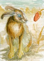 Red weed and hare ACEO by NikiKalat