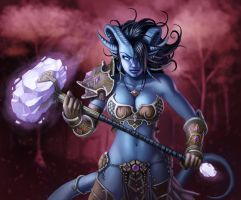 Draenei Paladin Female by rainerpetterart