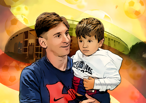 Lionel And Thiago Messi by LU-IS9
