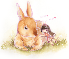 Rabbit and gilr by rabbitbox