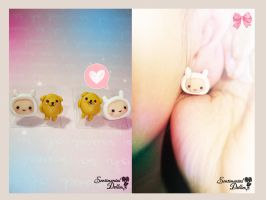 Adventure Time Finn and Jake Earrings by SentimentalDolliez