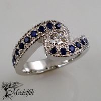 Diamond and Sapphires ring by Modelfik