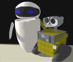 Wall-e and eve 3D by XTorbenX