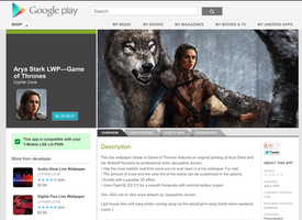 Live Wallpaper for Android! Arya Stark and Nymeria by monsterling