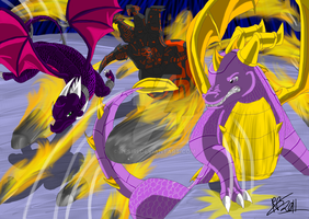 Spyro and Cynder vs Yami by Resiri