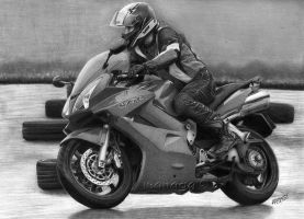 Lukasz and his Honda VFR 800 by waderra