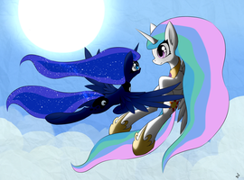 [Just art] Celestia and Luna by QueenBloodySky