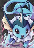 Vaporeon aceo card by tikopets