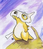 Cubone pokemon watercolor on canvas by LightningChaser