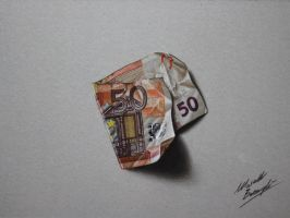 50 euro note DRAWING by Marcello Barenghi by marcellobarenghi