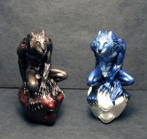 Black Wolf Blue Wolf pawns by Meadowknight