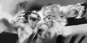 Wolverine Sabertooth Fight-XMC by stevenjamestaylor