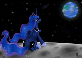 Luna cries on the moon by Salahir