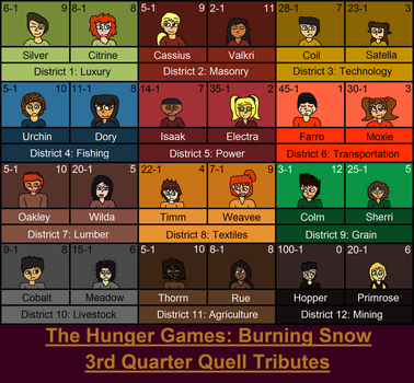 The Hunger Games: Burning Snow- The 24 Tributes by CragmiteBlaster