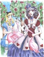 Alice and the Queen colored by grimkim