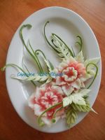 Two Melonflower Centerpiece by Chuncarv