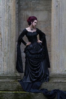 Stock - Gothic victorian woman looks down by S-T-A-R-gazer