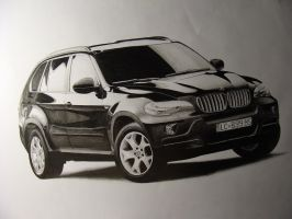 BMW X5 - pencil drawing by AjoslaF