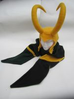 Fleece Loki Helmet and Scarf by Ghost-Apple