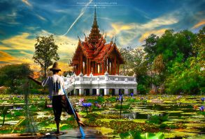 Thailand temple by artaquilus