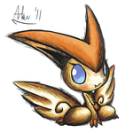Victini .:Pen+Watercolor:. by FreakyFreak95