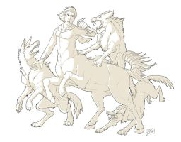 Centaur Fight - Lines by Lizkay